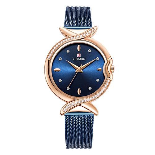 Dilwe Damenuhr, Qualität Strass wasserdichte Weibliche Uhr Quarzwerk Armbanduhr mit Verstellbarem Stahlgürtel(Rose Blue)
