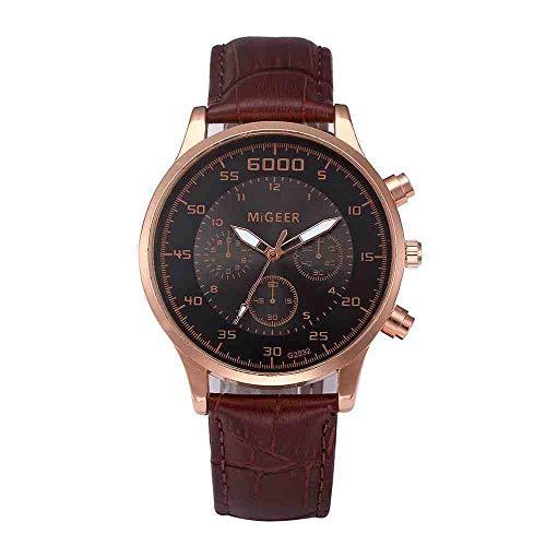 OLUYNG Reloj de Pulsera Relojes de Hombre Reloj de Cuarzo de Moda Reloj de Correa Elegante y Simple Reloj Masculino Reloj para Hombre de Negocios, café