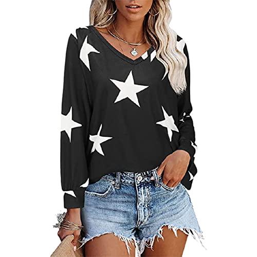 Autunno E Inverno Moda Donna Scollo A V Stampa A Maniche Lunghe Maglione Pullover Casual Allentato T-Shirt Top Donna
