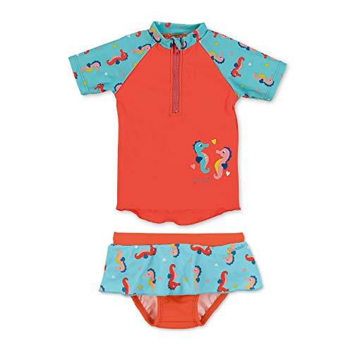 Sterntaler Kinder Mädchen 2-teiliger Schwimmanzug, Kurzarm-Badeshirt und Hosen-Rock, UV-Schutz 50+, Alter: 4-6 Jahren, Größe: 110/116, Meeresblau