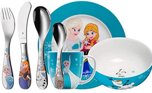 WMF Disney Frozen - Vajilla infantil con cubertería (7 piezas, Elsa y...