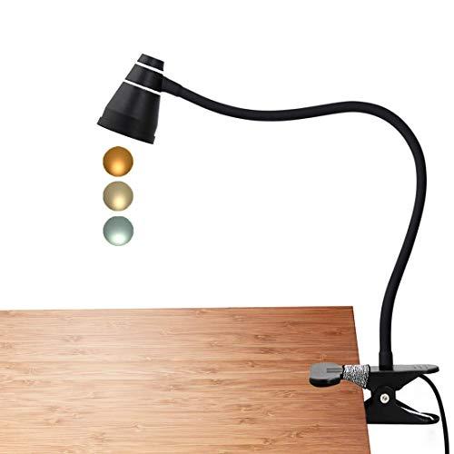 LED Klemmleuchte als Leselampe, Schminklicht, CeSunlight Schreibtischlampe, 3 Farbtemperaturen, 11 Helligkeiten, Klemmlampe USB, LED Lampe dimmbar, Tageslicht, 2 m USB-Kabel und Netzteil (schwarz)