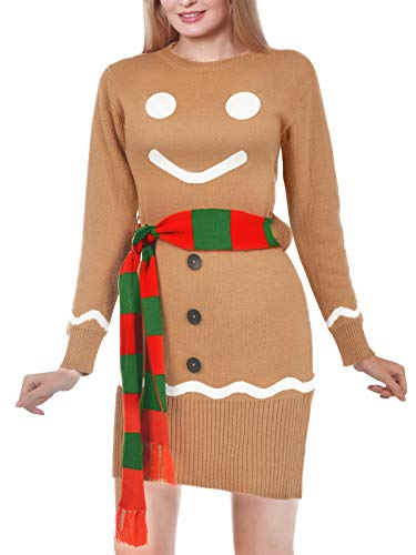 Women's Christmas Ugly Sweater Dress, Gingerbread Snowman Sweater with Scarf Holiday Party Sweater Dress