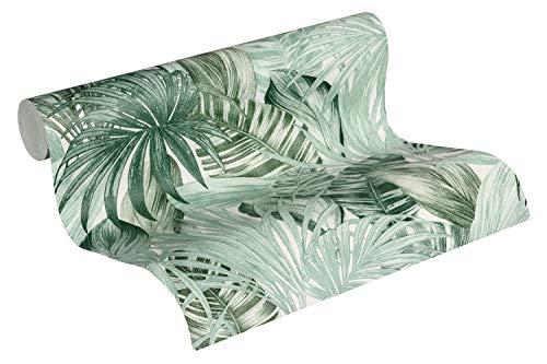 A.S. Création Vliestapete Greenery Tapete in Dschungel Optik mit Palmenblättern 10,05 m x 0,53 m grün weiß Made in Germany 368201 36820-1