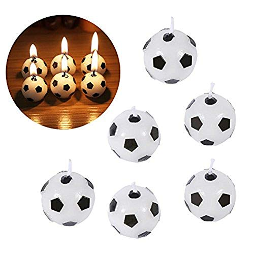 6Pcs Cute Soccer Ball Football Birthday Party Cake Candles Decorations Supplies Tool for Kids Toy Gift Decorations for Home Black/Red (Sent in Random)