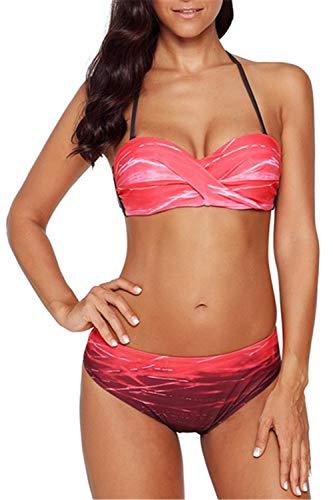 Dokotoo Badeanzug Damen Bauchweg Figurformend Bikini Set Strand Swimwear Swimsuits Beachwear Farbdruck mit Hotpants Rot L (EU44-EU46)