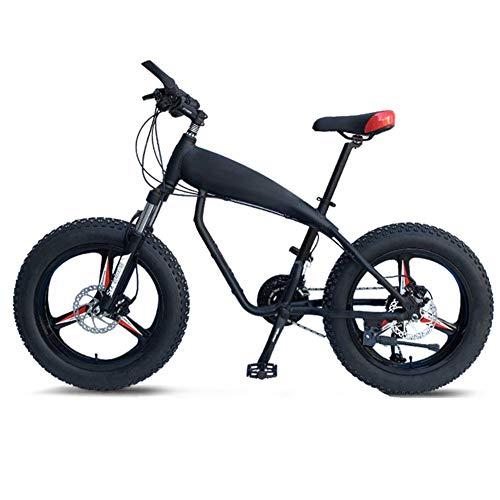 DJYD 20-Zoll-Mountainbikes, 30-Gang Overdrive Fat Tire Fahrrad, Junge Frauen Alurahmen Hardtail Mountainbike mit Federgabel, Blau, Spoke FDWFN (Color : Black, Size : 3 Spoke)