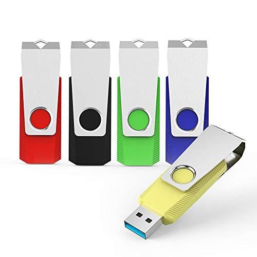 KEXIN USB-Stick 32GB 3.0 5 Stück USB Stick bis zu 80 MB/s Lesegeschwindigkeit Schneller USB-Flash-Laufwerk Speicherstick USB Flash Drive für PC Tablet TV Auto Bunt (Schwarz Grün Blau Rot Gelb)