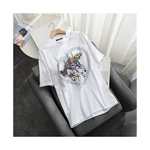 HLH Oversize kobiety słodkie bawełniane koszule lato fahion damskie elegancko luźna biała koszula ładny żeński bluzki kobiety eleganckie topy (Color : White, Size : One Size)