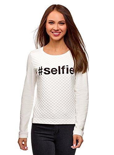 oodji Ultra Damen Sweatshirt aus Strukturiertem Stoff mit Schriftzug, Weiß, DE 40 / EU 42 / L