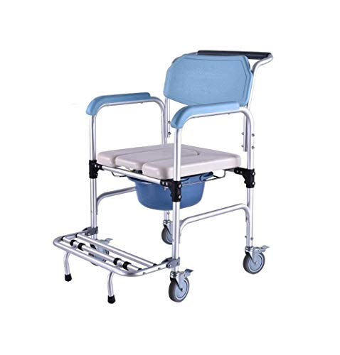 ZXY-NAN Bathroom Wheelchairs Commode Sitting Chair Mobile Chair Elderly Women Moving Aluminum Alloy Shower Chair Sitting Wheelchair Removable Toilet Seat Shower Chair with Wheels and Brakes