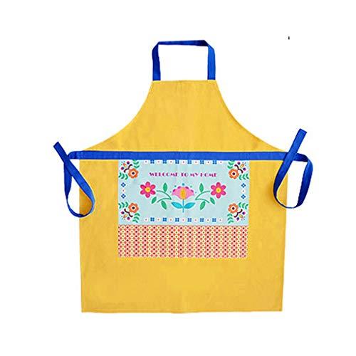 Delantal Negro marrón/Verde/Amarillo Cocina hogar Divertido Tienda de Flores Creativo niños Lindos y niñas Comodo (Color : C)