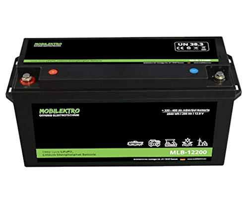 MOBILEKTRO® LiFePO4 200Ah 12V 2560Wh Lithium Versorgungsbatterie mit BMS - EQ 320Ah - 400Ah AGM oder GEL Aufbaubatterie für Wohnmobil, Boot, Camping oder Solaranlage