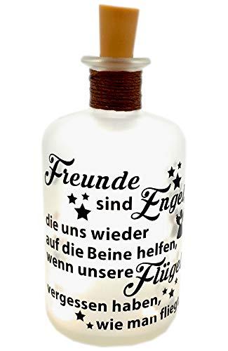 LED-Leuchtflasche Freunde Engel Geschenk schwarz Geschenkidee Freundschaft Verschenken