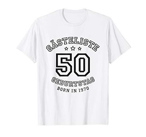 Gästeliste 50. Geburtstag 1970 Gästebuch in Trikot-Schrift T-Shirt