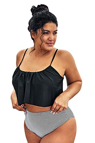 CUPSHE Women's Plus Size Bikini Set Ruffeld Adjustable High Waisted Swimsuit, 3X Black White