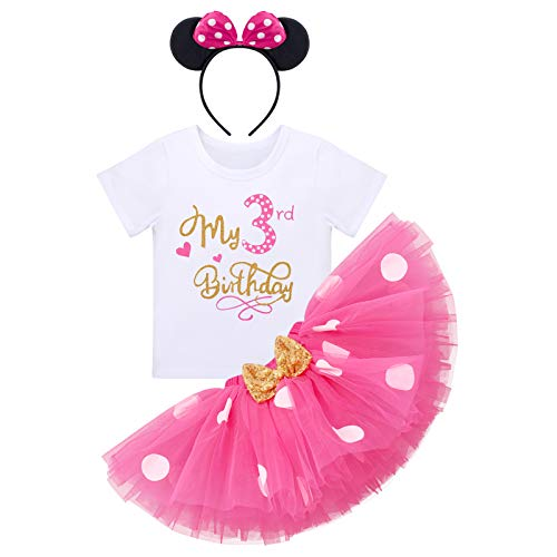 Baby Mädchen Dritter 3. Geburtstag Party Outfit Minnie Kostüm Baumwolle Kurzarm Top T Shirt Prinzessin Gepunktet Tütü Tüll Rock Stirnband 3tlg Bekleidungsset Rose - Mein 3. Geburtstag