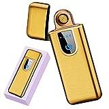 Electric Lighter, Flameless USB Rechargeable Lighters, Mini Smart Fingerprint Sensor Windproof Electronic Lighters, Upgrade Plasma Mute Lighter for Camping Indoor Outdoor Cigarette Lighter(Gold)