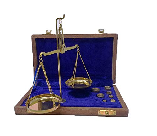 Buddha4all Vintage Apothecaire Schaal - Kleine Brass Gewicht Schaal met Houten Doos Antieke Tafel Weegschaal Handwerk Oude Traditionele Goldsmith Gewicht (Tarazu) Showpiece