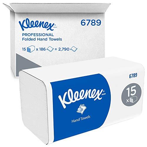 Kleenex 6789 Essuie-mains pliés, 15 paquets de 186 feuilles en papier, 2 plis, Technologie absorbante Airflex , Couleur : Blanc, 06789100