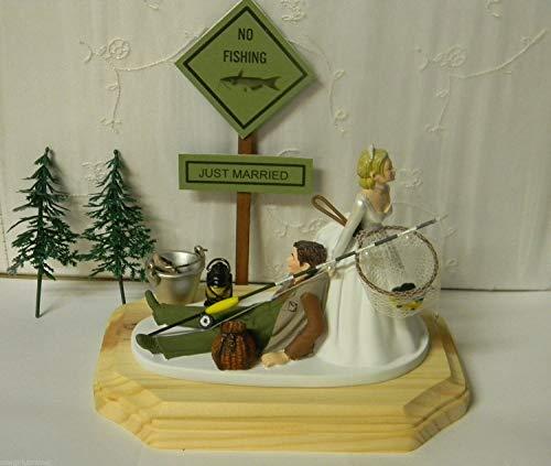 Wedding rception party custom design fishing Cake Topper