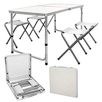 ECD Germany Set Table + 4 Chaises De Camping - Table Pliante Pliable Portable - 120 Cm - En Aluminium et MDF - Couleur Blanc/Crème - Réglable - pour Extérieur - Jardin Pique-Nique Camping
