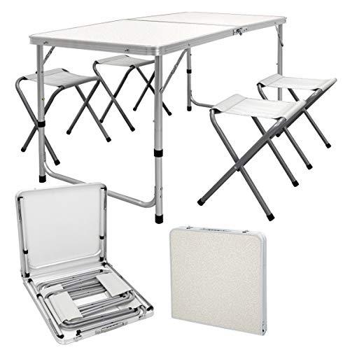 ECD Germany Mesa de camping con 4 taburetes - 120 x 60 x 55/63/70 cm de altura ajustable - con bisagras - blanco/crema - de aluminio y MDF - juego de muebles de camping mesa plegable