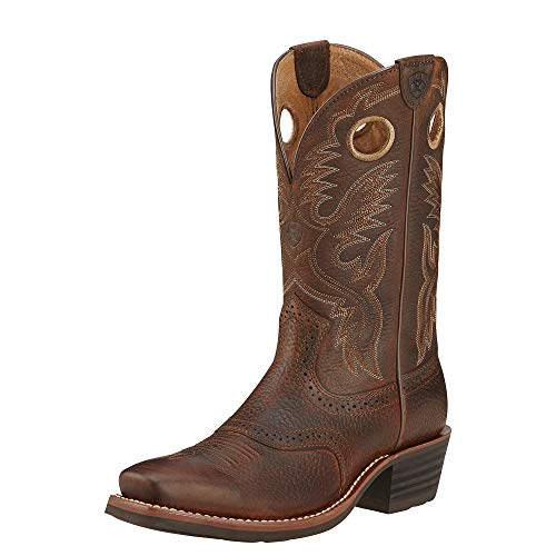 Ariat Men's Heritage Roughstock Western Cowboy Boot, Brown Oiled Rowdy, 10.5D