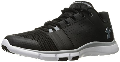 Under Armour Men's Strive 7-Wide (2E) Sneaker, Black (001)/White, 12.5