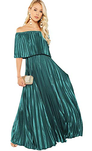 Milumia Women's Casual Off The Shoulder Layered Ruffle Party Beach Baby Shower Long Maxi Dress Turquoise Small