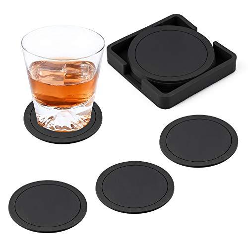 FUNVCE Silikon Untersetzer rund für Gläser 6er Set Silikonuntersetzer Schwarz Glasuntersetzer für Getränke, Tassen, Bar, Glas Tischuntersetzer