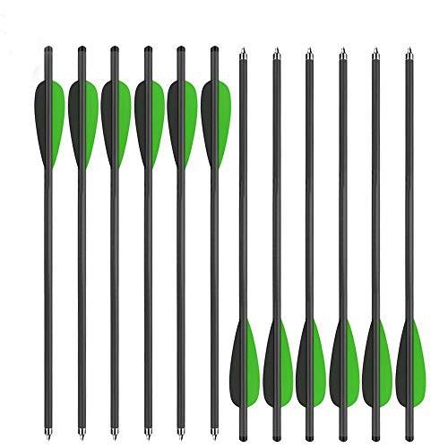 Sports Funshop 12er Carbon Armbrustbolzen 20Zoll Bolzen OD 8.8MM für Armbrust (Grün, 16 Zoll)