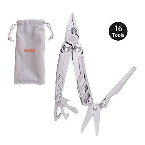 NEXTORCH KT5020 Kit d'outils pliables 16 en 1 pour décapsuleur et coupe-couteau, coupe-fil, tournevis, règle pour voyage, camping, survie et maison
