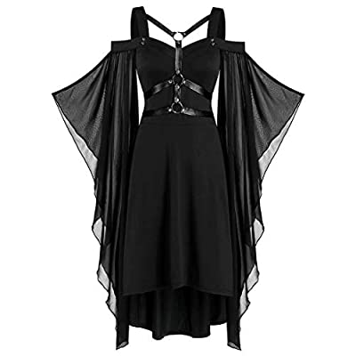 Women Punk Style Dress Gothic Cool Criss Cross Lace Insert Butterfly Sleeve Off Shoulder Solid Color Plus Size Patchwrok High Low Dress Halloween Cosplay Party (XXXXL, Black)