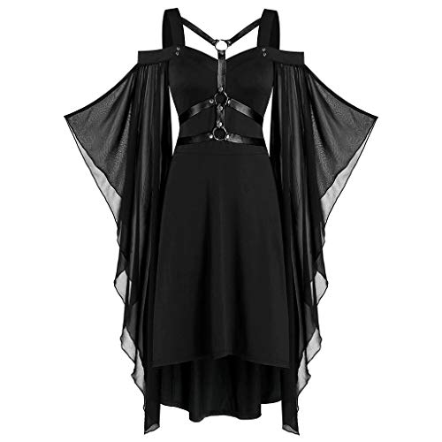 Zottom Frauen Plus Size Coole Solid Gothic Criss Cross Mit Spitzeneinsatz Schmetterlingshülse Kleid(schwarz,XXXXX-Large)