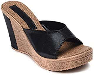 Bruno Manetti Women Faux Leather Black Wedges