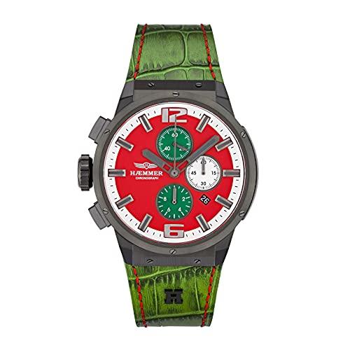 HÆMMER Spunky EG-001 - Reloj de pulsera analógico de cuarzo para mujer (cristal de zafiro resistente a los arañazos, diámetro de 48 mm), color rojo y verde