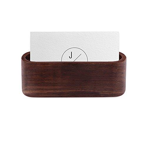 OurLeeme Klassischer Visitenkartenhalter aus Holz mit einem Fach für Namenskarten und Aufsteller für Schreibtisch und Arbeitsplatte (Dunkelbraun)