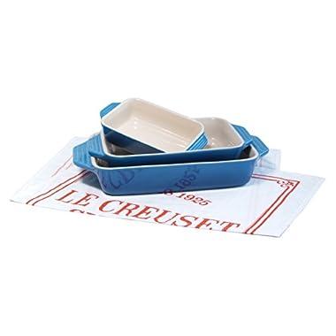 Le Creuset 3 Piece Marseille Blue Stoneware Rectangular Casserole Dish Set with Free Bonus Cuisine Towel