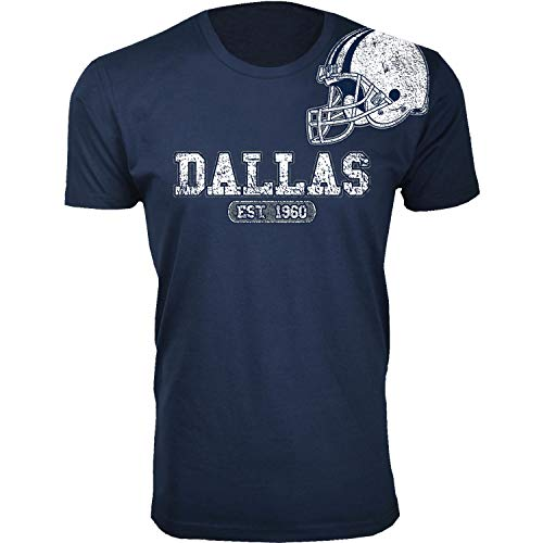 Men's Awesome Football Helmet Dallas T-Shirts (Extended Navy/XL