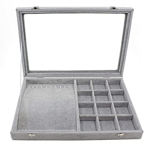 Caja de joyería Franela Joyas Cajas de vidrio Organizador de tapa de vidrio Organizador de almacenamiento de Largetray Organizador apilable Pantalla de visualización para pendiente Anillo Collar Pulse