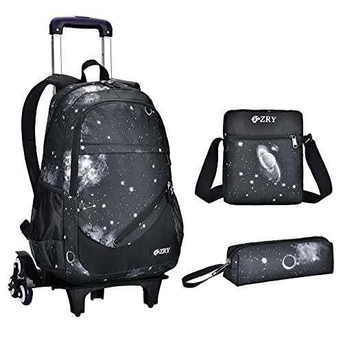 Roll-Rucksack für Mädchen mit Rädern, 3-in-1 Kinderrucksack mit Rollen, für Jungen, Glaxay-Tasche für Reisen und Schule - Schwarz - Standard