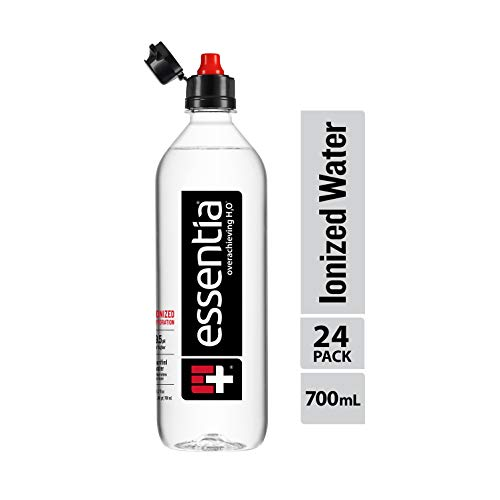 Essentia Ionized Alkaline Water with 9.5 pH or Higher, Purified Drinking Water Infused with Electrolytes for a Clean and Smooth Taste, Consistent Quality, Sports Cap, 23.7 Fl Oz, Pack of 24