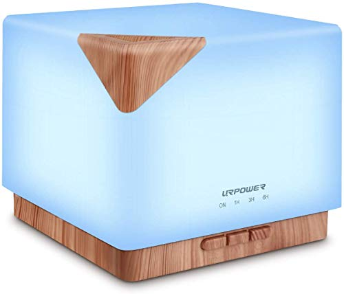 URPOWER Square Aromatherapy Essential Oil Diffuser Humidifier, 700ml Large Capacity Modern Ultrasonic Aroma Diffusers Running 20+ Hours 7 Color Changing for Home Office Bedroom Living Room Study