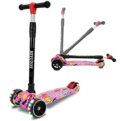 HIYUTOY Kick Scooter 3 Wheel Scooter,Adjustable Height Kids Scooter,Lean to Steer with Extra-Wide PU LED Light Up Wheels,for Boys & Girls from 2 Years Old and Up (Pink)