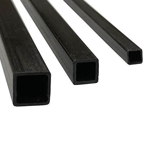 (4) Pultruded Square Carbon Fiber Tube - 10mm x 10mm x 1000mm - (4) Tubes