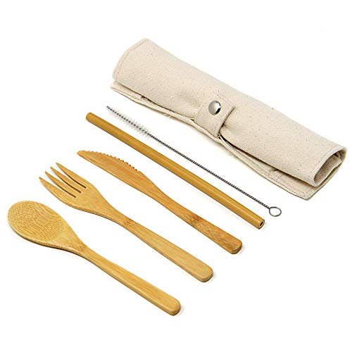 Maison & White Set di posate di bambù riutilizzabile | Kit di utensili in legno per viaggi e campeggio biodegradabili, eco-compatibili