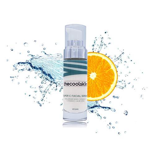 100% Natural y Vegano- Super C Facial Serum con ÁCIDO HIALURÓNICO + VITAMINA C + VITAMINA E + ALOE VERA. Antiedad, Antioxidante, Hidratante 30ml thecoolskin