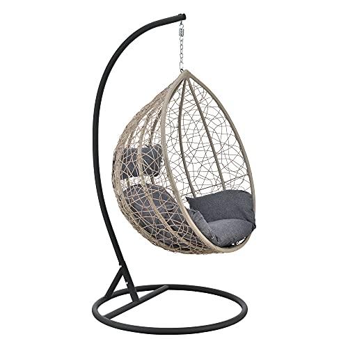 [en.casa] Hängesessel Capileira 1-Sitzer Outdoor Hängestuhl mit Gestell und Kissen Hängekorb bis 150 kg Braun/Dunkelgrau