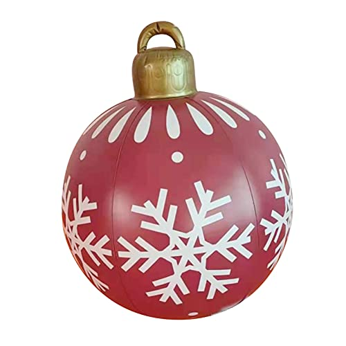 CUSROS Palla Gonfiabile di Natale Grande Ornamento di Natale All'Aperto Gigante di Natale, 23,62 inch vistoso e Indeformabile in PVC Festa di Natale Giardino Gonfiabile Giocattolo Palla Gonfiabile 6